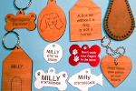 small size picture of pet nametags and keyfobs